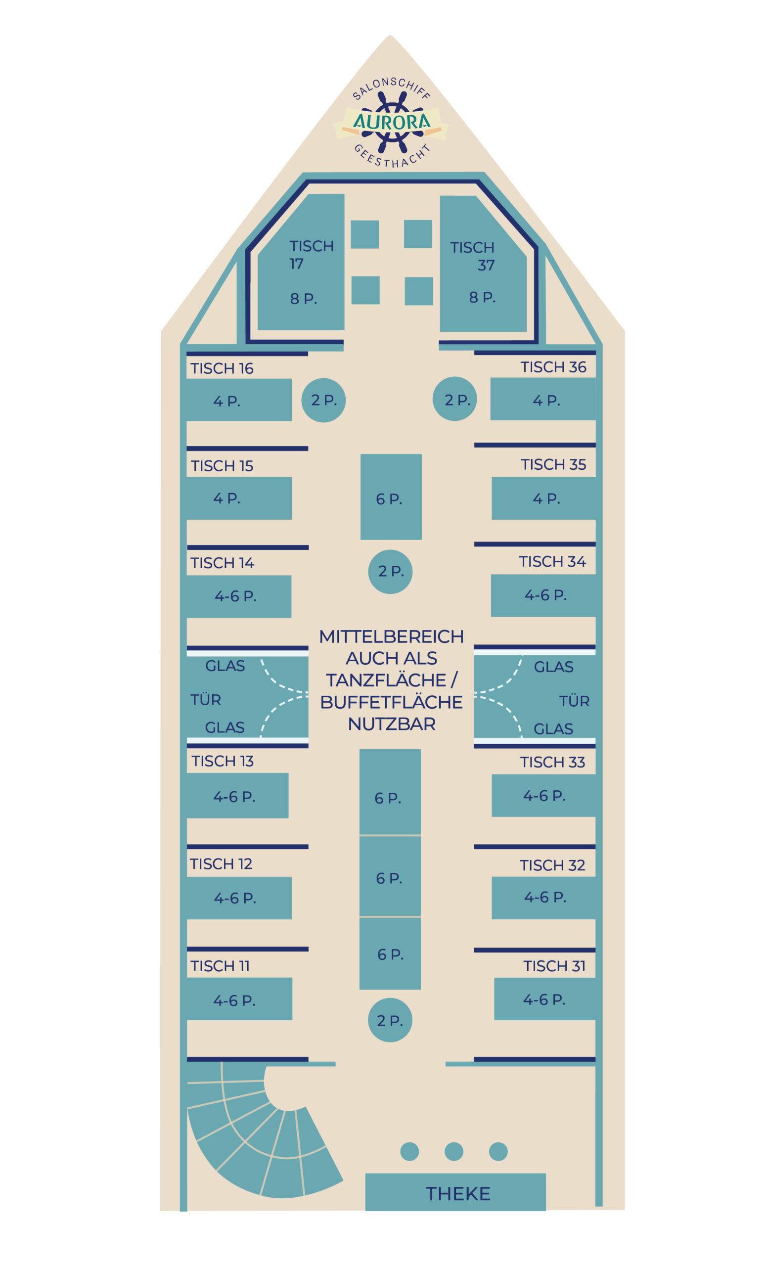 Sitzplätze Unterdeck Salonschiff AURORA Geesthacht